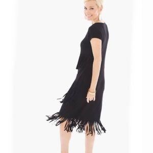 Chico's Black Fringe Short Dress NWT